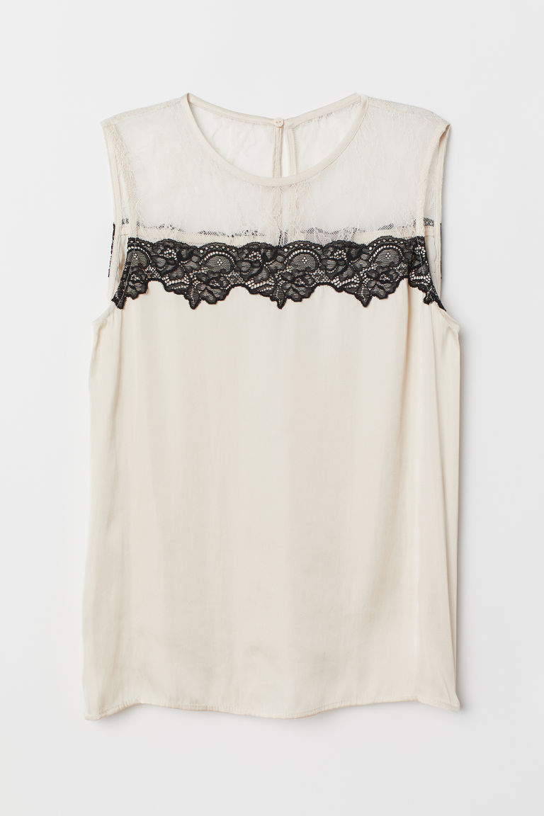 Blouse with a lace yoke - Powder beige - Ladies | H&M CN