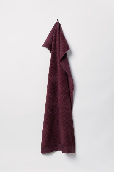 Jacquard-weave bath towel - Burgundy - Home All | H&M CN