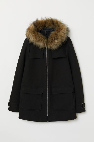 Wool-blend duffle coat - Black -  | H&M