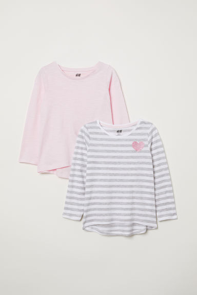 2er-Pack Jerseyshirts - Hellgrau/Gestreift - Kids | H&M AT