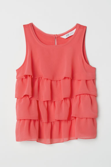 Tiered chiffon top - Raspberry pink -  | H&M