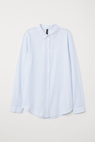 Cotton shirt - Light blue/Striped -  | H&M CN