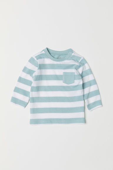 Jersey top - Light turquoise/White striped -  | H&M CN