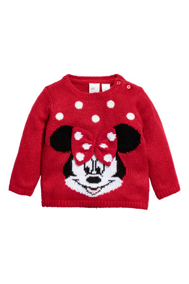 Jacquard-knit jumper - Red/Minnie Mouse -  | H&M CN