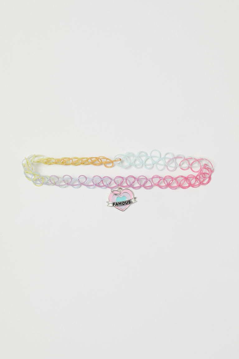 Elasticated necklace - Light pink/Famous - Kids | H&M CN