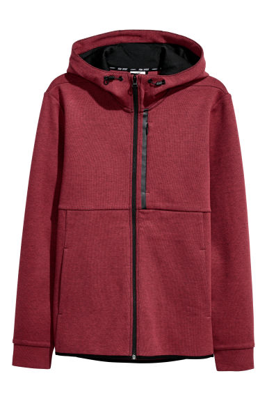 Hooded sports top - Red marl - Men | H&M CN