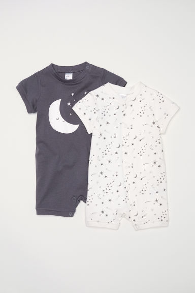 2-pack all-in-one pyjamas - Dark grey/Stars - Kids | H&M CN