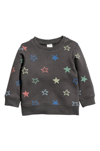 Cotton sweatshirt - Dark grey/Stars - Kids | H&M CN
