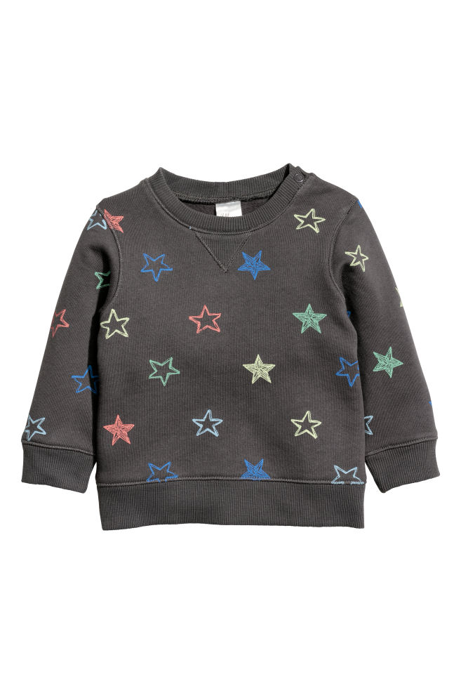 30ade319f Cotton sweatshirt - Dark grey/Stars - Kids   H&M ...