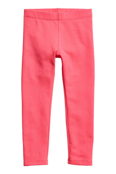 Sturdy jersey leggings - Raspberry pink/Spotted - Kids | H&M CN