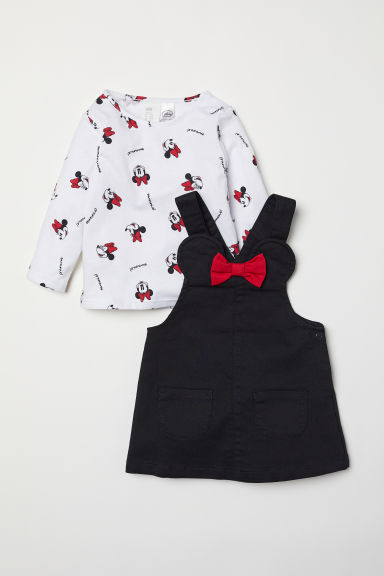 Dungaree dress and top - Black/Minnie Mouse - Kids | H&M CN