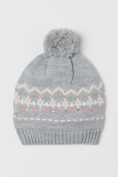 c272b816c8f Knit Hat - Natural white pompoms - Kids