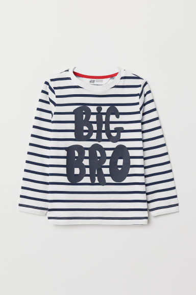 Printed top - White/Striped - Kids | H&M