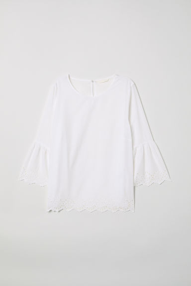 Trumpet-sleeved blouse - White - Ladies | H&M