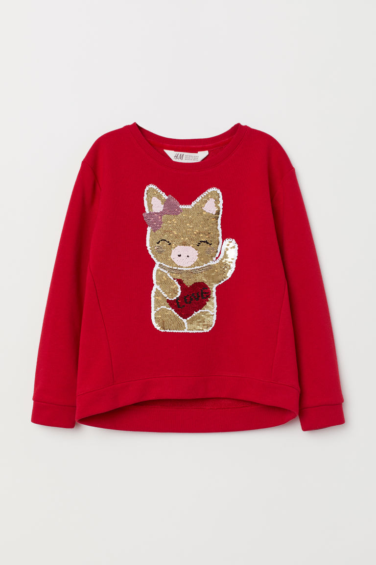 Top with reversible sequins - Red - Kids | H&M CN