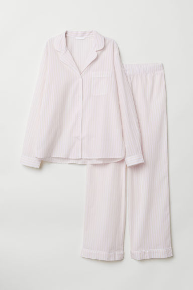 Pyjama shirt and bottoms - Powder pink/Striped - Ladies | H&M CN