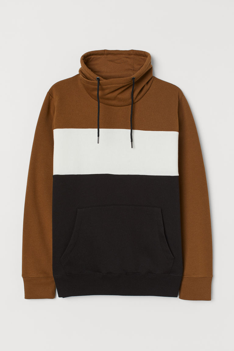 Funnel-collar sweatshirt - Brown/White/Black - Men | H&M GB
