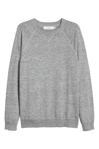 Fine-knit cotton jumper - Grey marl - Men | H&M GB