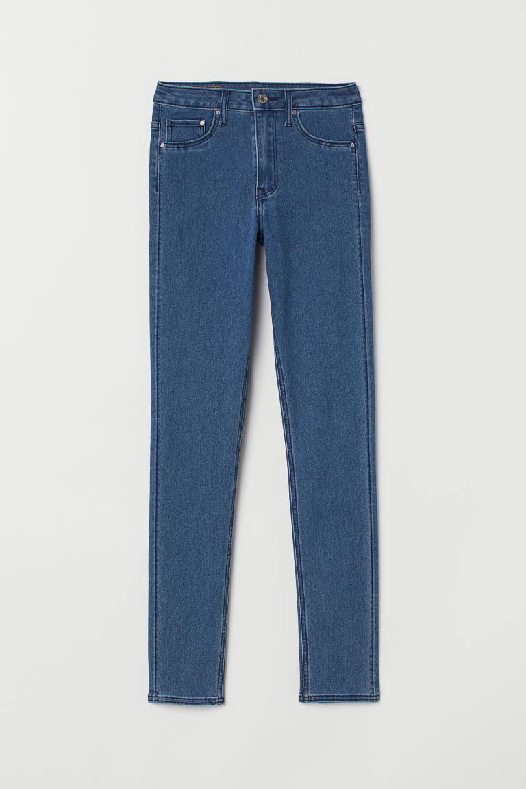Skinny High Waist Jeggings - Niebieski denim - ONA | H&M PL