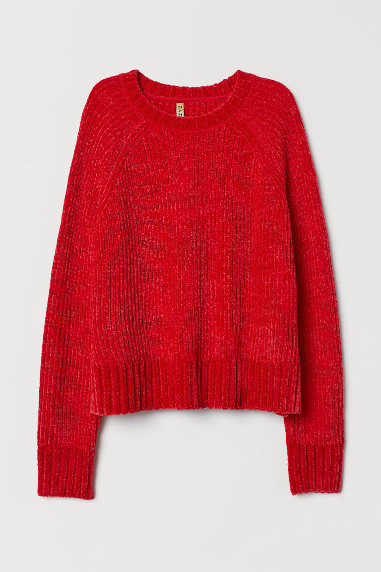 Ribbed jumper - Red -  | H&M CN