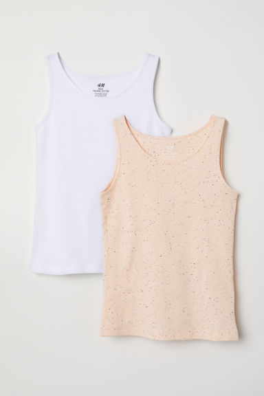 2-pack jersey vest tops - Apricot -  | H&M