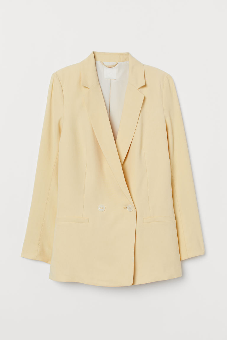 Double-breasted Jacket - Light yellow - Ladies | H&M US