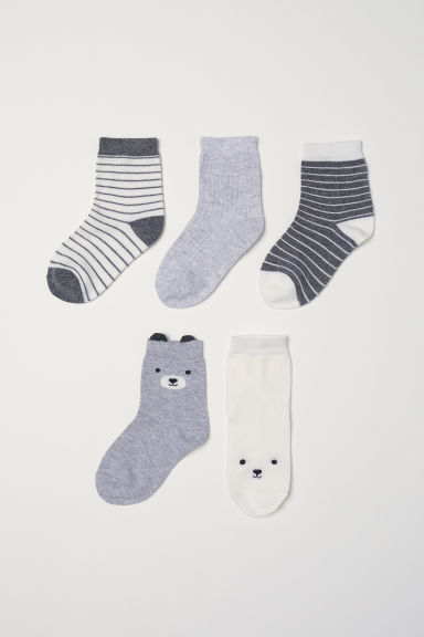 5-pack socks - Light grey/Bear - Kids | H&M CN