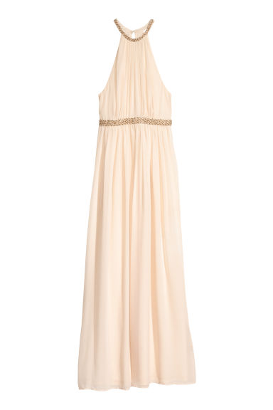 Long chiffon dress - Light beige - Ladies | H&M