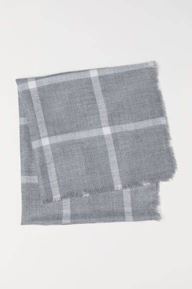 Checked scarf - Grey/Checked - Ladies | H&M