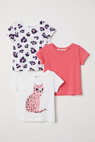 3-pack jersey tops - White/Leopard - Kids | H&M