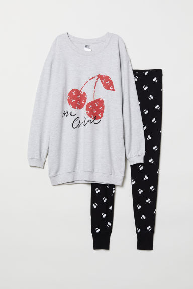 Pyjama top and leggings - Light grey/Cherries - Ladies | H&M