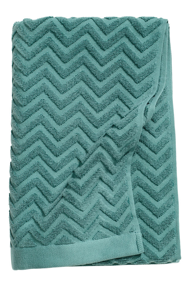Jacquard Patterned Bath Towel Dark Turquoise Home All H M