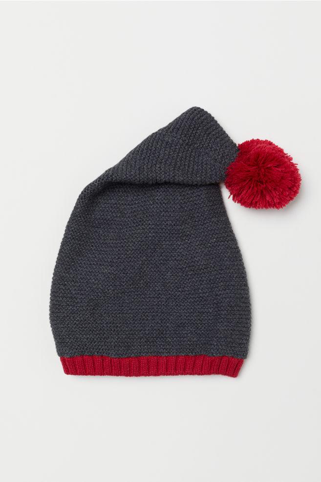 Pletená čepice pixie - Tmavě šedá červená - DĚTI  2f19992633