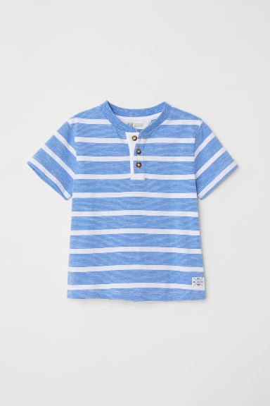 T-shirt with buttons - Blue/White striped - Kids | H&M