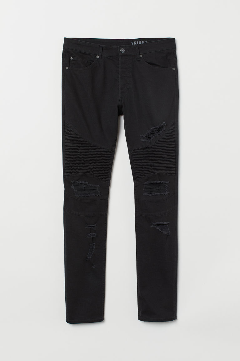Skinny Biker Jeans - 黑色 - Men | H&M CN