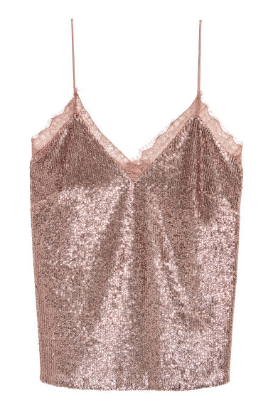 Sequined strappy top - Dusky pink - Ladies | H&M IE