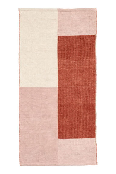 Block-patterned wool-blend rug - Rust brown/Multicoloured - Home All | H&M CN