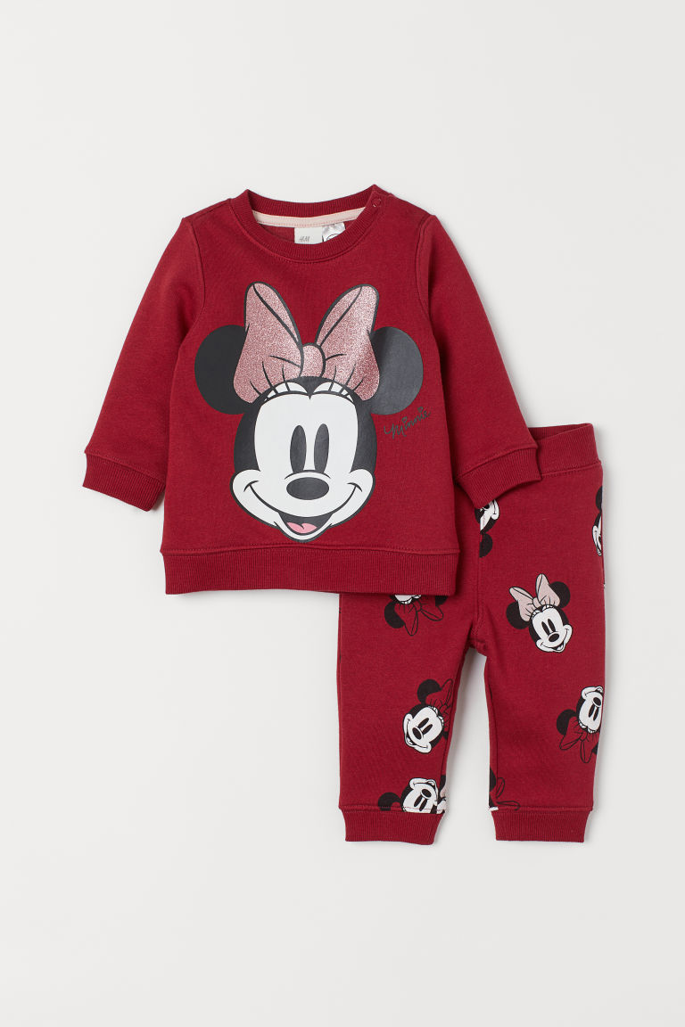 Sweatshirt and trousers - Dark red/Minnie Mouse - Kids | H&M CN