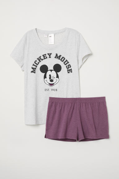 Pyjama top and shorts - Grey marl/Mickey Mouse - Ladies | H&M