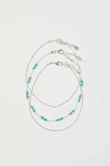 3-pack anklets - Silver-coloured - Ladies | H&M CN