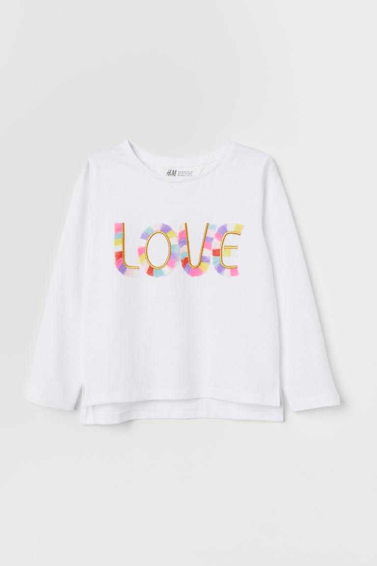 Appliquéd jersey top - White/Fringing - Kids | H&M IE