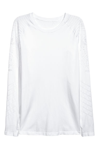 Seamless sports top - White - Ladies | H&M CN