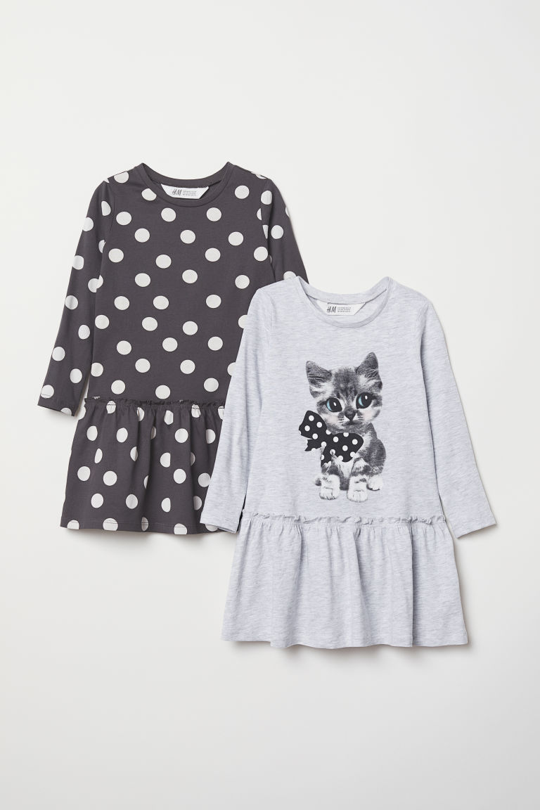 2-pack jersey dresses - Light grey/Cat - Kids | H&M