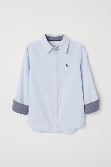 Cotton shirt - Light blue marl - Kids | H&M