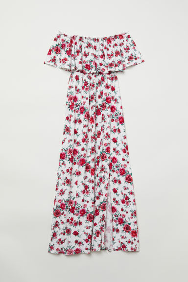 Off-the-shoulder dress - White/Roses - Ladies | H&M
