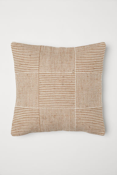 Jute-blend cushion cover - Light beige - Home All | H&M CN