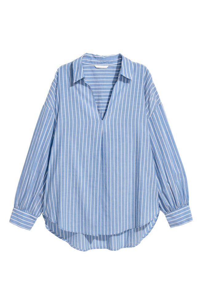 43ac9a3932fa Wide-cut Shirt - Blue/white striped - Ladies | H&M ...