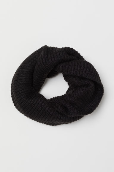 Ribbed tube scarf - Black - Ladies | H&M