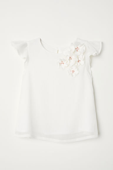 Blouse with appliqués - White -  | H&M CN