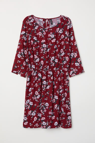 Korte jurk - Bordeauxrood/bloemen - DAMES | H&M BE